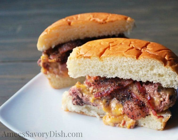 Pimento Cheese Stuffed Burgers from Amee's Savory Dish #GirlsCanGrill