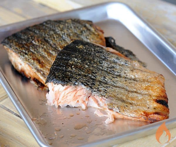 grilled fish on a pan