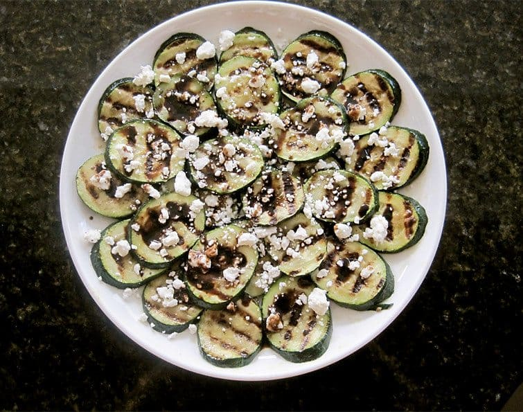 Grilled Zucchini with Goat Cheese and Balsamic-Honey Syrup from Full Belly Sisters