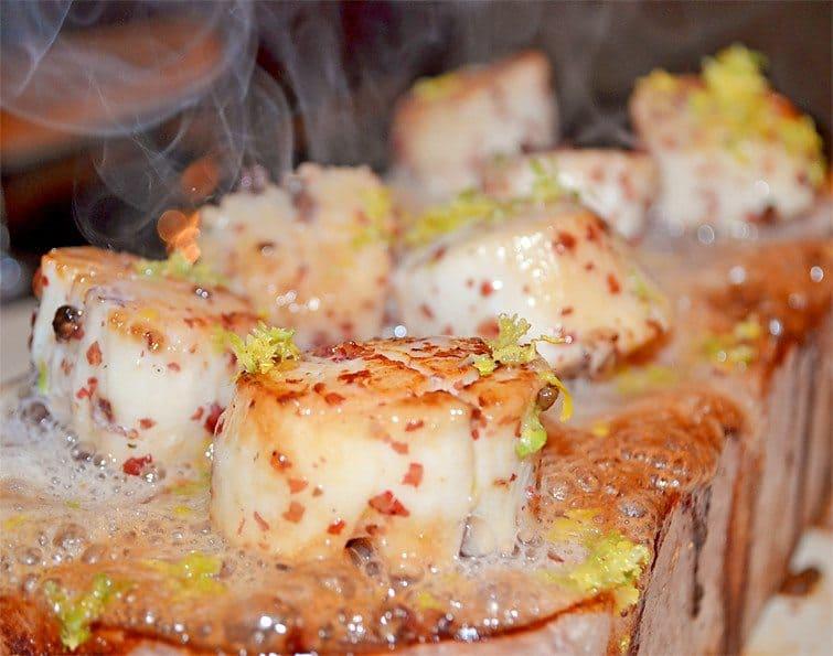 Salt Block Scallops from A Little Gourmet Everyday #GirlsCanGrill