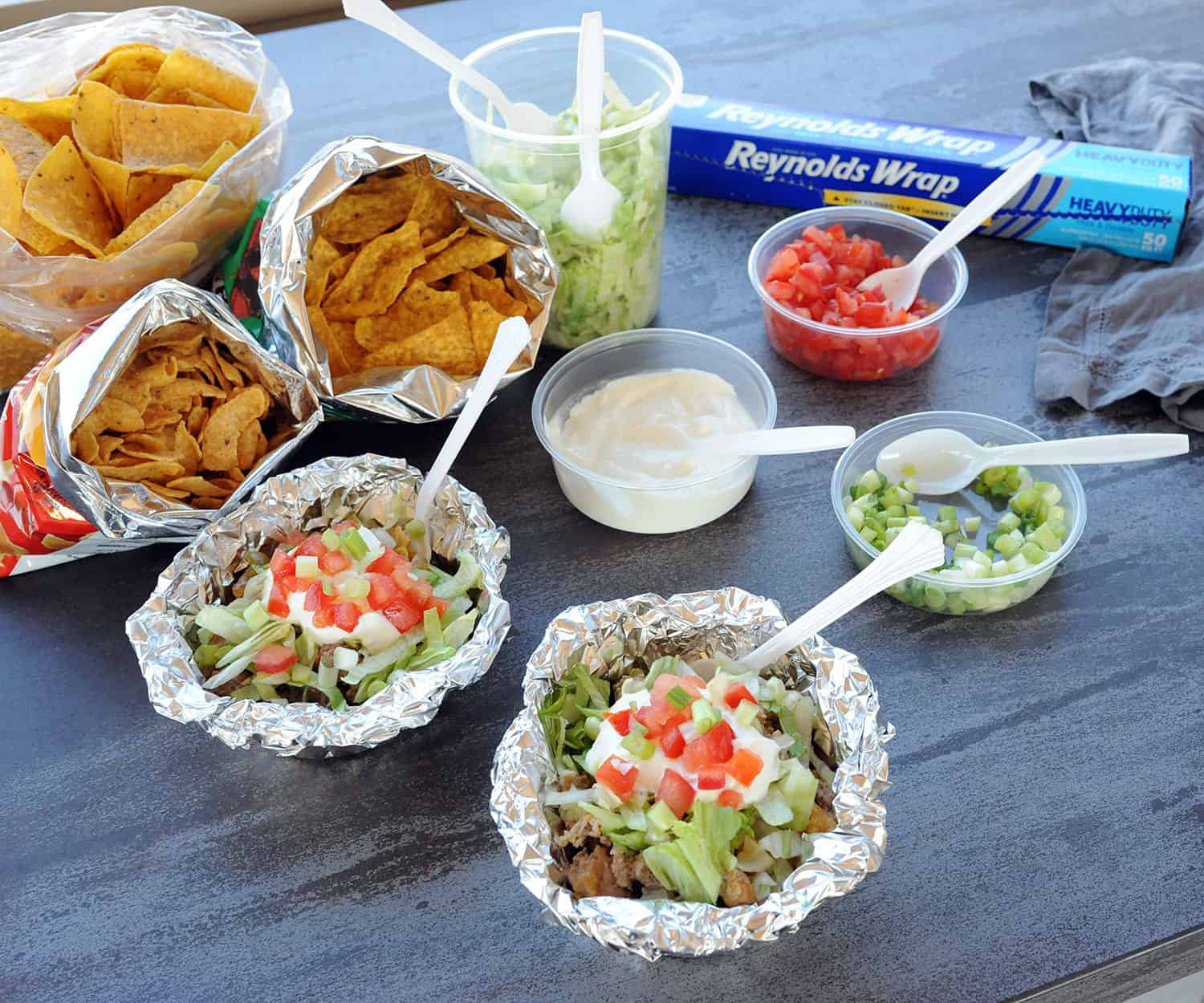 walking taco foil packet with toppings