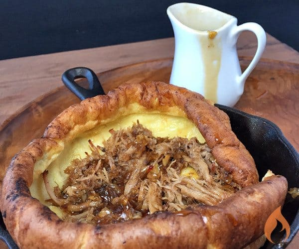 Dutch Baby Pancake with Pulled Pork and Jack Fire Maple Syrup