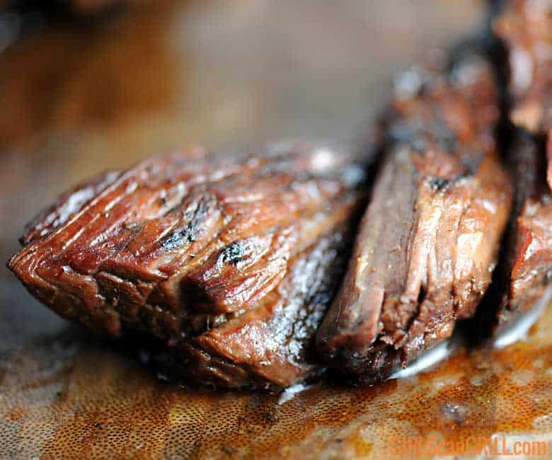 closeup of tender, juicy beef ribs