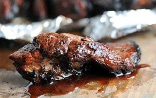 closeup of tender, juicy boneless beef rib
