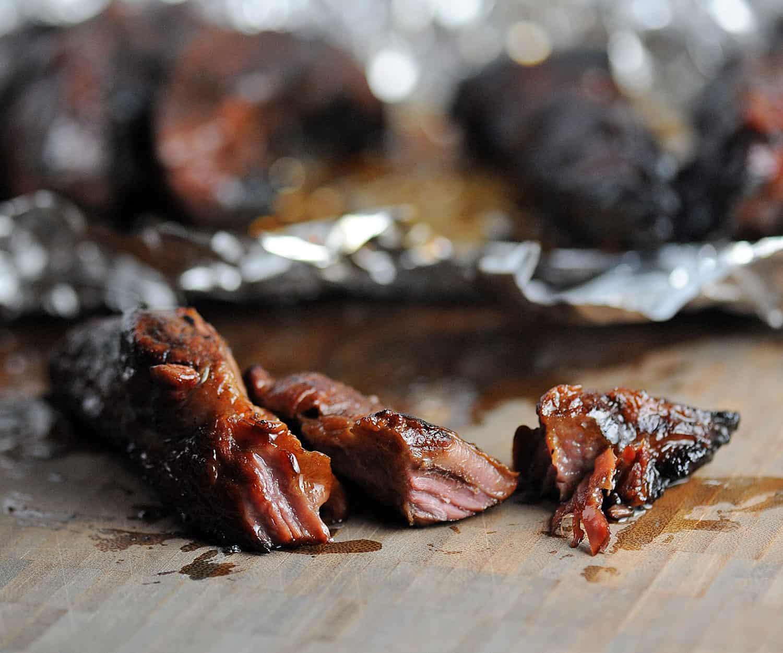boneless beef ribs shredded on board