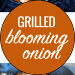 grilled blooming onion in a mini cast iron skillet