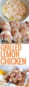 three pictures of grilled lemon chicken, marinating, skewered, cooked