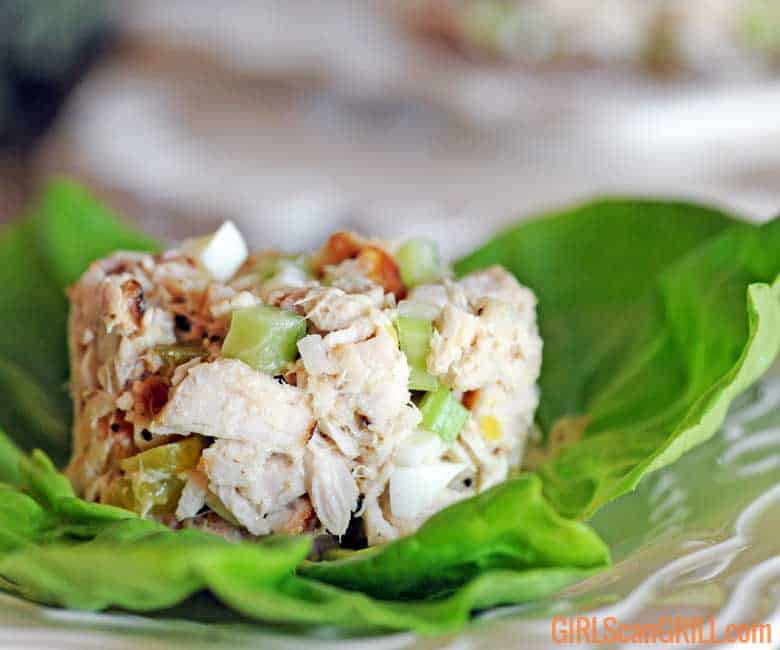 mound of grilled tuna salad on lettuce leaf