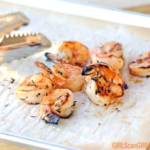grilled shrimp on parchment paper