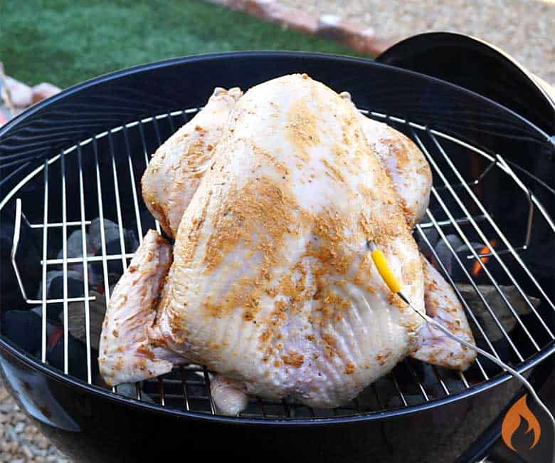 turkey on grill with probe inserted