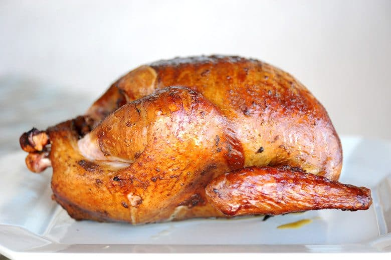 smoked turkey on white plate with white background