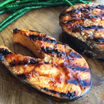 salmon filet with char marks and green beans