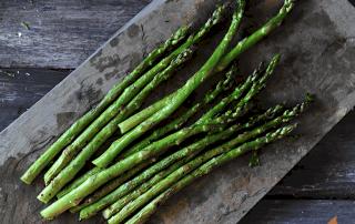 Grilled Asparagus on slate platter
