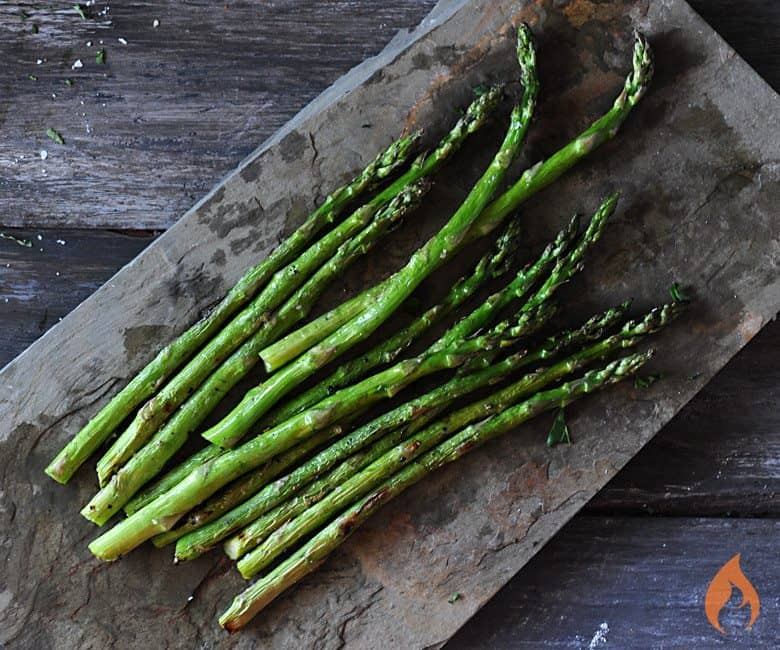 Grilled Asparagus on slate platter