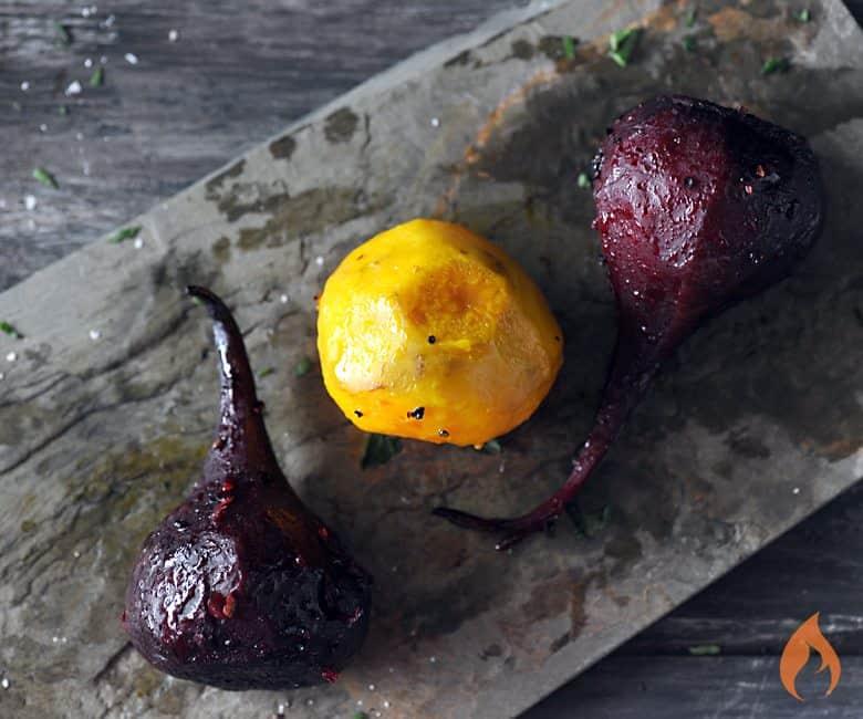 Grilled Beets on slate platter