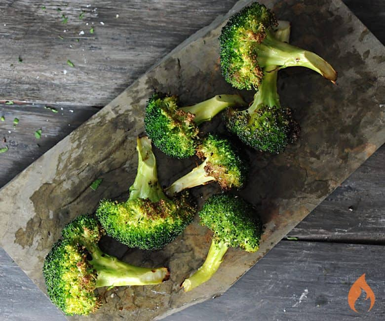 Grilled Broccoli on slate platter