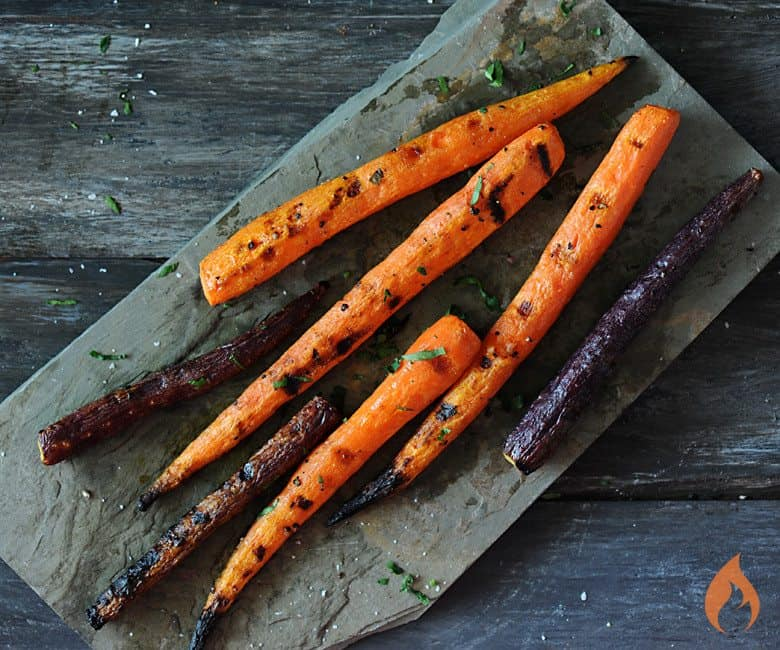 Grilled Carrots on slate platter