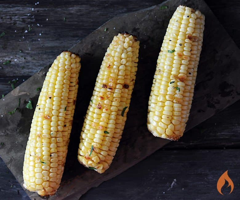 Grilled Corn on slate platter