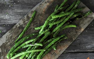 Grilled Green Beans on slate platter