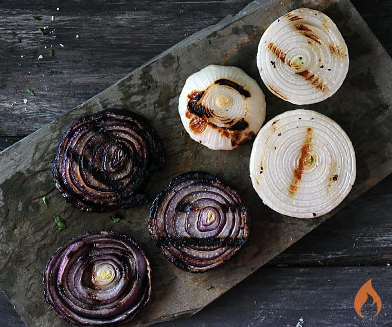 Grilled Onions on slate platter