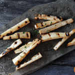 Grilled Parsnips on a slate platter