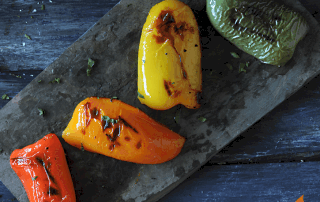 Grilled Peppers on slate platter