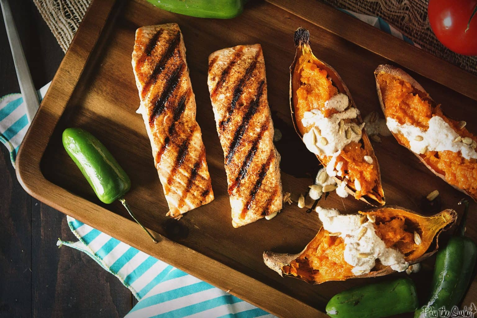 Ancho Rubbed Grilled Salmon with Nogada Sauce