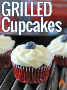 red white and blue cupcake on a grill grate