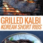 picture of kalbi ribs on grill and picture of plate of grilled kalbi ribs