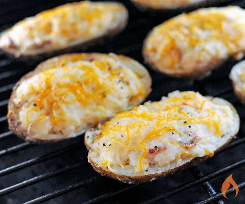 Buttery Grilled Garlic Potato Skins