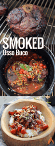 cast iron pot full of osso buco with lid to side and bowl of stew