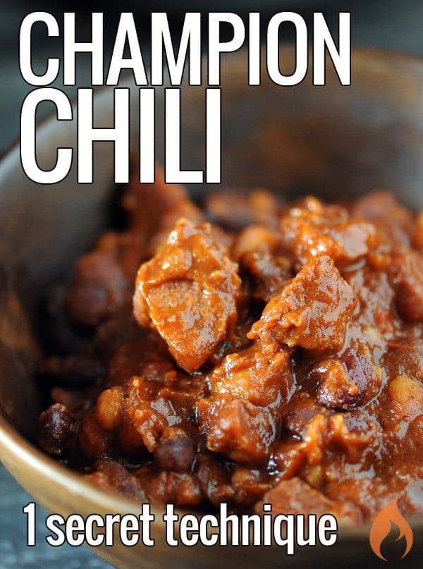 Learn the one technique that is the secret to champion chili + instructions for how to prepare this winning recipe on the grill, smoker, oven or slow cooker.