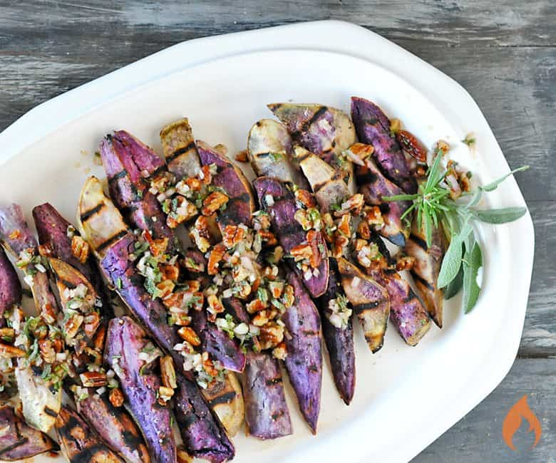 Grilled Savory Maple Purple Sweet Potatoes