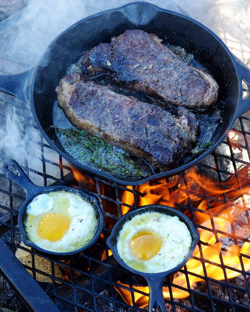 Campfire Steak and Eggs