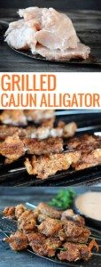 2 pictures, raw alligator, alligator grilling and plate of cooked alligator
