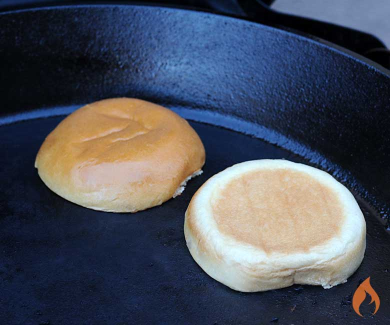 Grilling Buns on a Plancha