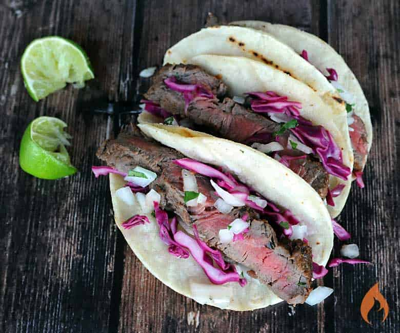 Grilled Aussie Grass-Fed Flat Iron Steak Tacos