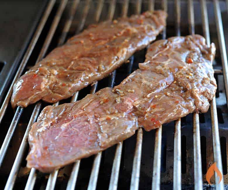 flat iron steak on grill