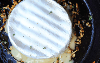 Skillet Brie Dip with Maple Walnut Sauce