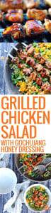 three pictures of grilled chicken salad with lettuce and mango