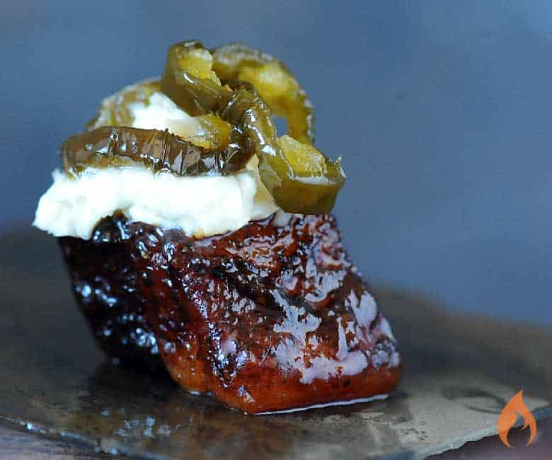 smoked pork belly nugget topped with cream cheese jalapeno