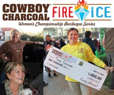 Three women pose with grill and winning check