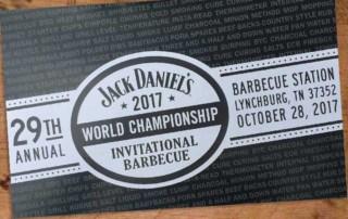 2017 Jack Daniel's World Championship Invitational Barbecue Agenda