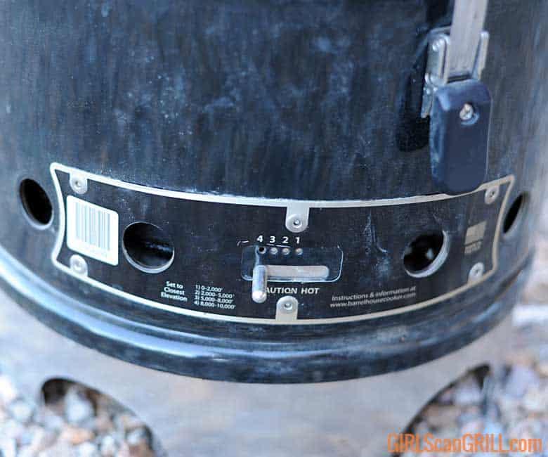 Barrel House Cooker vents wide open