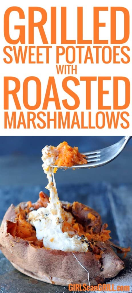 forkful of sweet potatoe and marshmallows