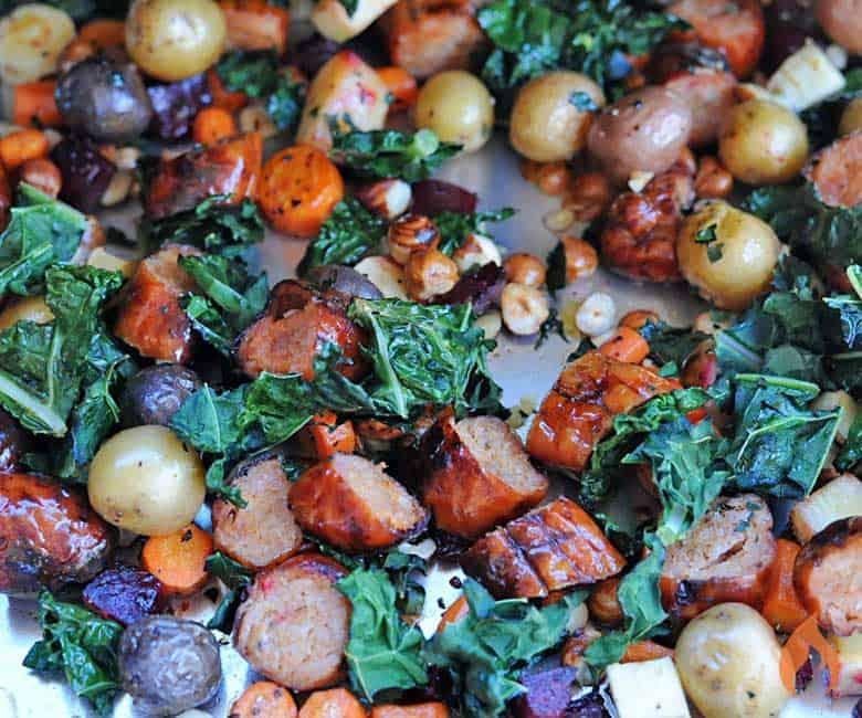 sheet pan with roasted veggies and sausage
