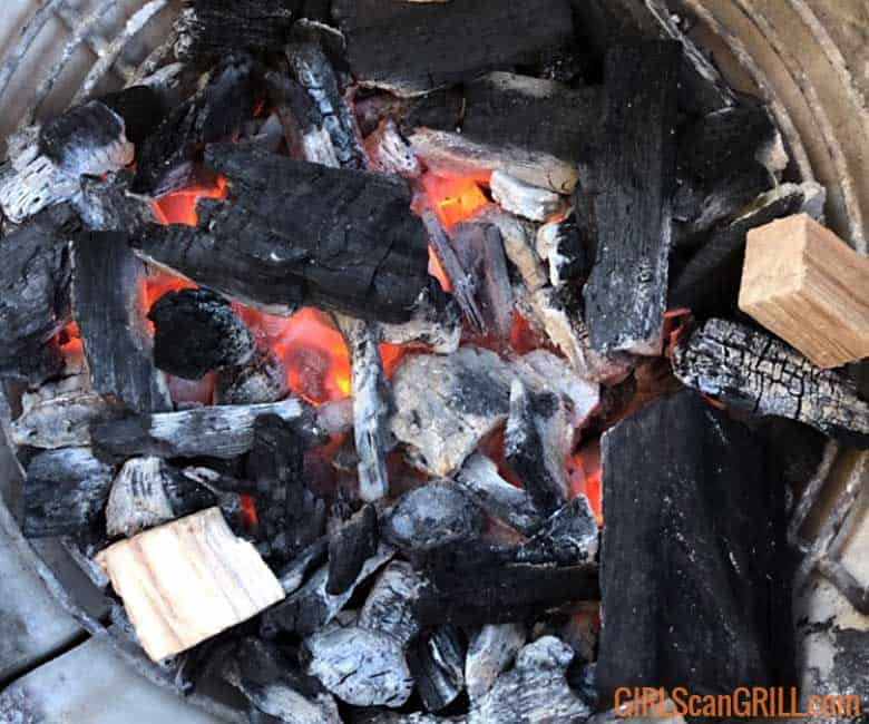 black and gray lump charcoal with 2 wood chunks
