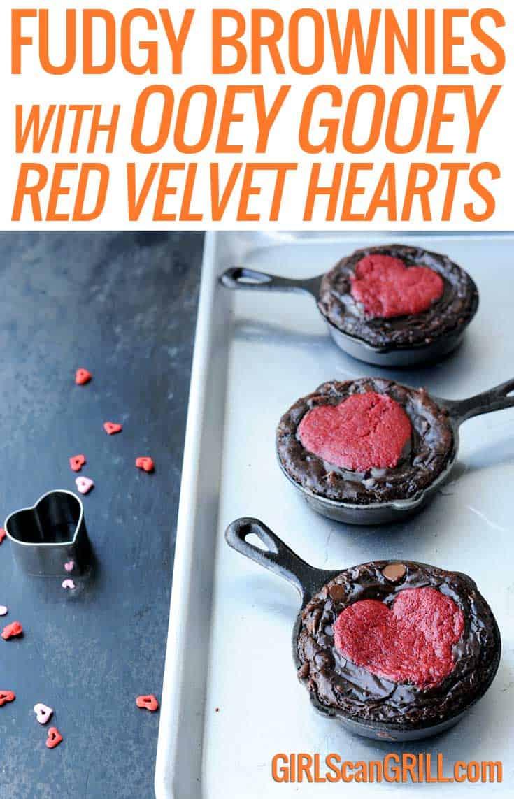 Fudgy Brownies Skillets with Ooey Gooey Red Velvet Hearts