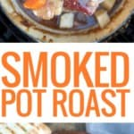 two pictures of pot roast one on ladle one in bowl