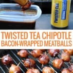 tongs dipping meatball in bbq sauce with grill in background and can of Twisted Tea to right